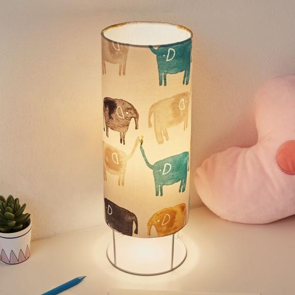 Cute Elephant Lamp Tischleuchte max20W E14 Beige/Bunt/ Metall/Stoffschirm