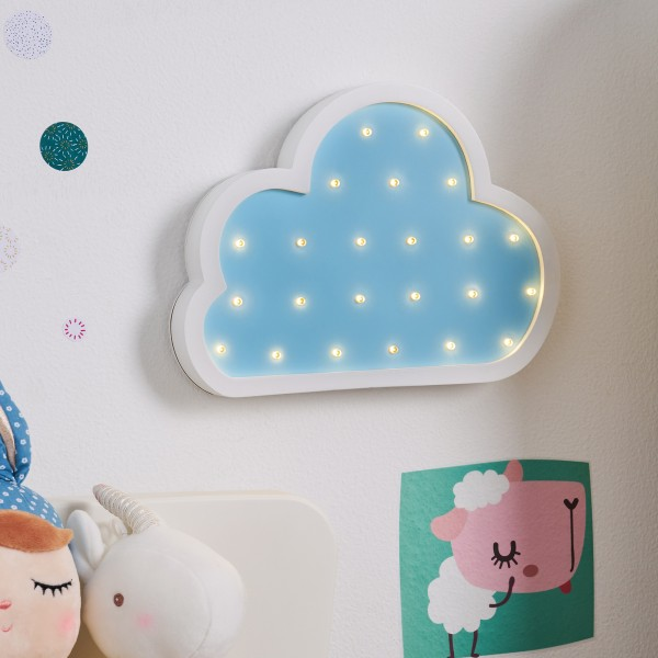 Lovely Cloud Lamp Wandleuchte Batterie Weiß/Blau/ Holz
