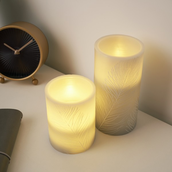 Cosy Feather Candle Wachskerze 2er Set Timer Batterie Grau