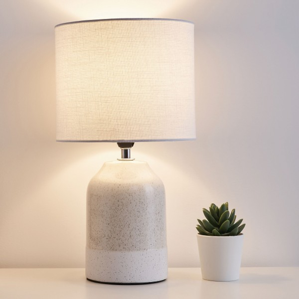 Sandy Glow Tischleuchte max.20W E14 Weiß/Beige 230V Stoff/Keramik