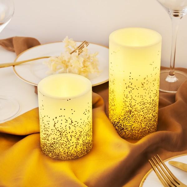 Golden Glitter Candle Wachskerze 2er Set Timer Batterie Elfenbein/Glitzer Gold