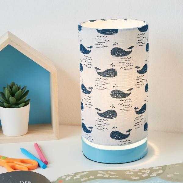 Cute Whale Lamp Tischleuchte max.20W E27 Weiß/Blau/ Metall/Stoffschirm