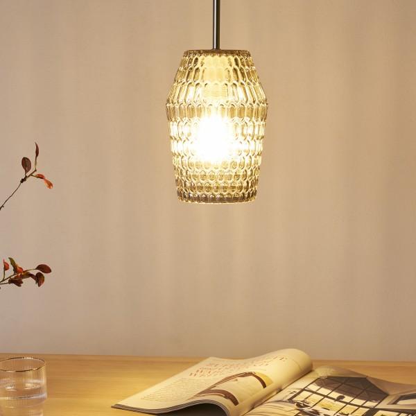 Crystal Sparkle Pendelleuchte max20W E27 Rauchglas/Schwarz