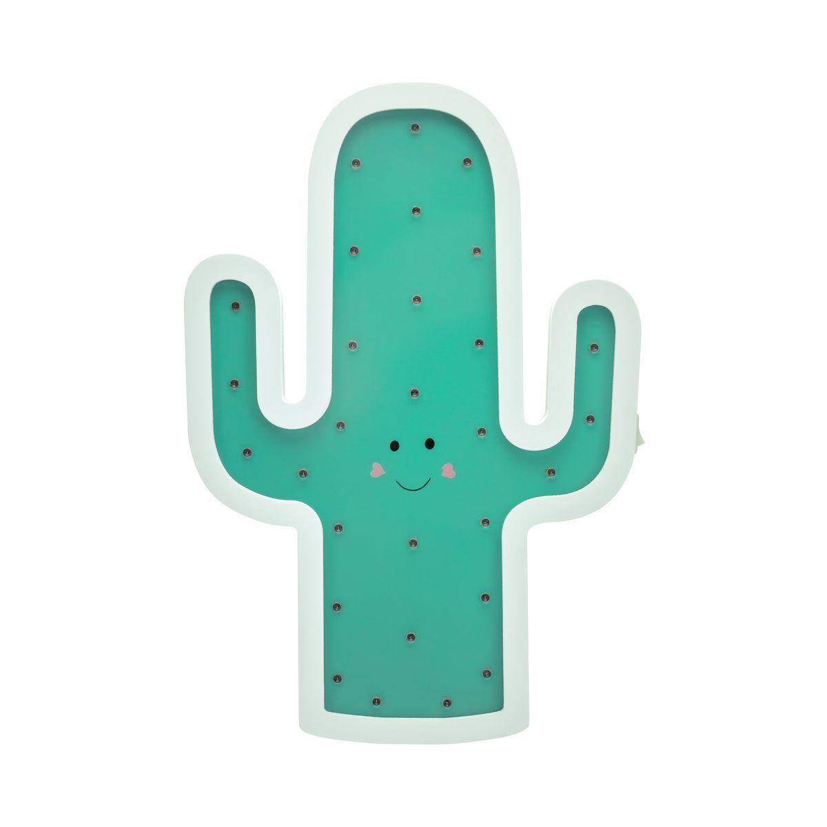 Hellgrau Weiß Und Holz Sind Erfrischend Natürlich: Lovely Cactus Lamp Wandleuchte Batterie Weiß/Grün/ Holz