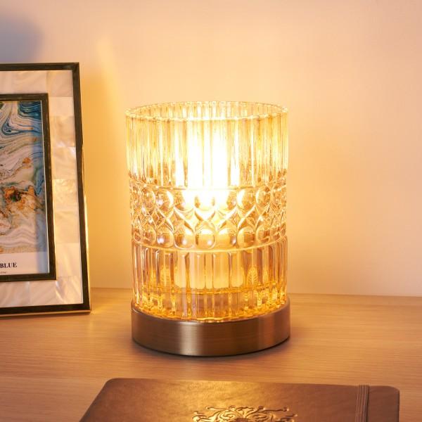 Crystal Elegance Tischleuchte max25W E27 Glas/Bernstein/Messing