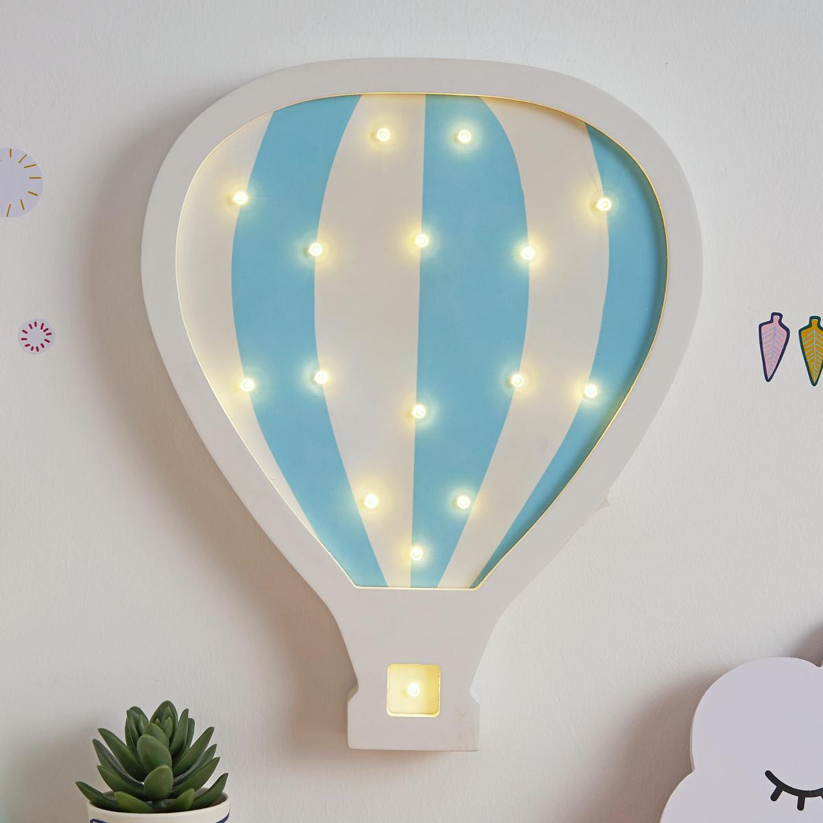 Hellgrau Weiß Und Holz Sind Erfrischend Natürlich: Lovely Balloon Lamp Wandleuchte Batterie Weiß/Blau/ Holz