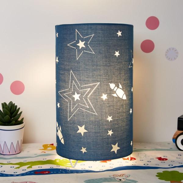 Cute Universe Lamp Tischleuchte max.20W E14 Blau/Metall/Stoffschirm