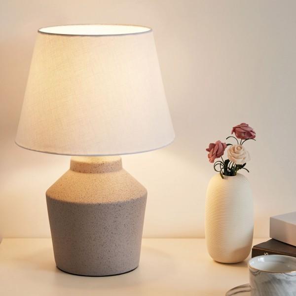 Glowing Pearl Tischleuchte max.20W E27 Weiß/Grau 230V Stoff/Keramik