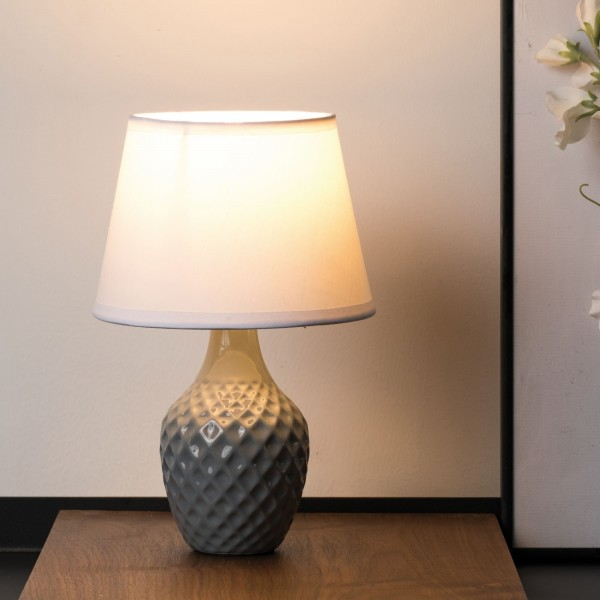 Lovely Sparkle Tischleuchte max.20W E14 Weiß/Grau 230V Stoff/Keramik