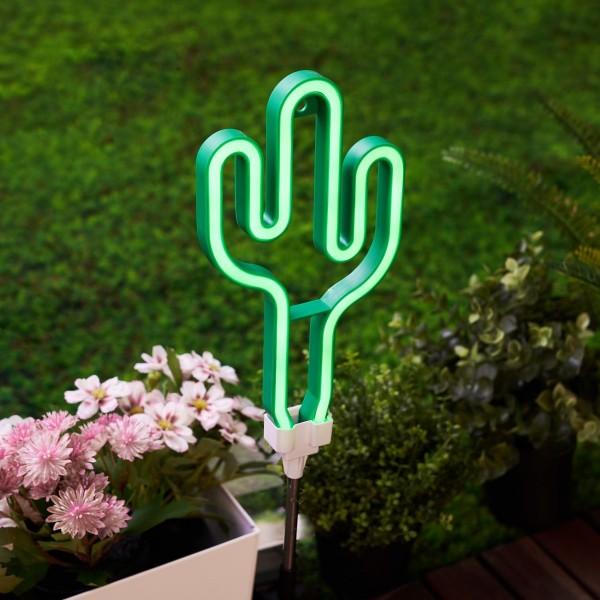 Sunshine Cactus Solar-Erdspieß Grün/Silber