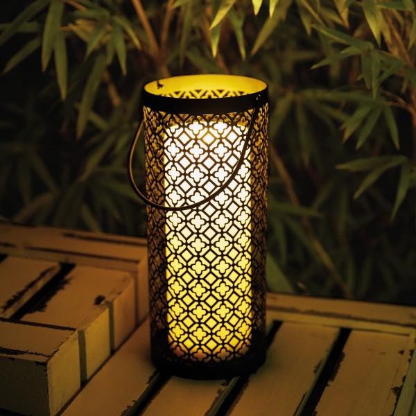 Lantern Lover Laterne inkl. Kerze Batterie Schwarz/Weiß Metall/Kunststoff