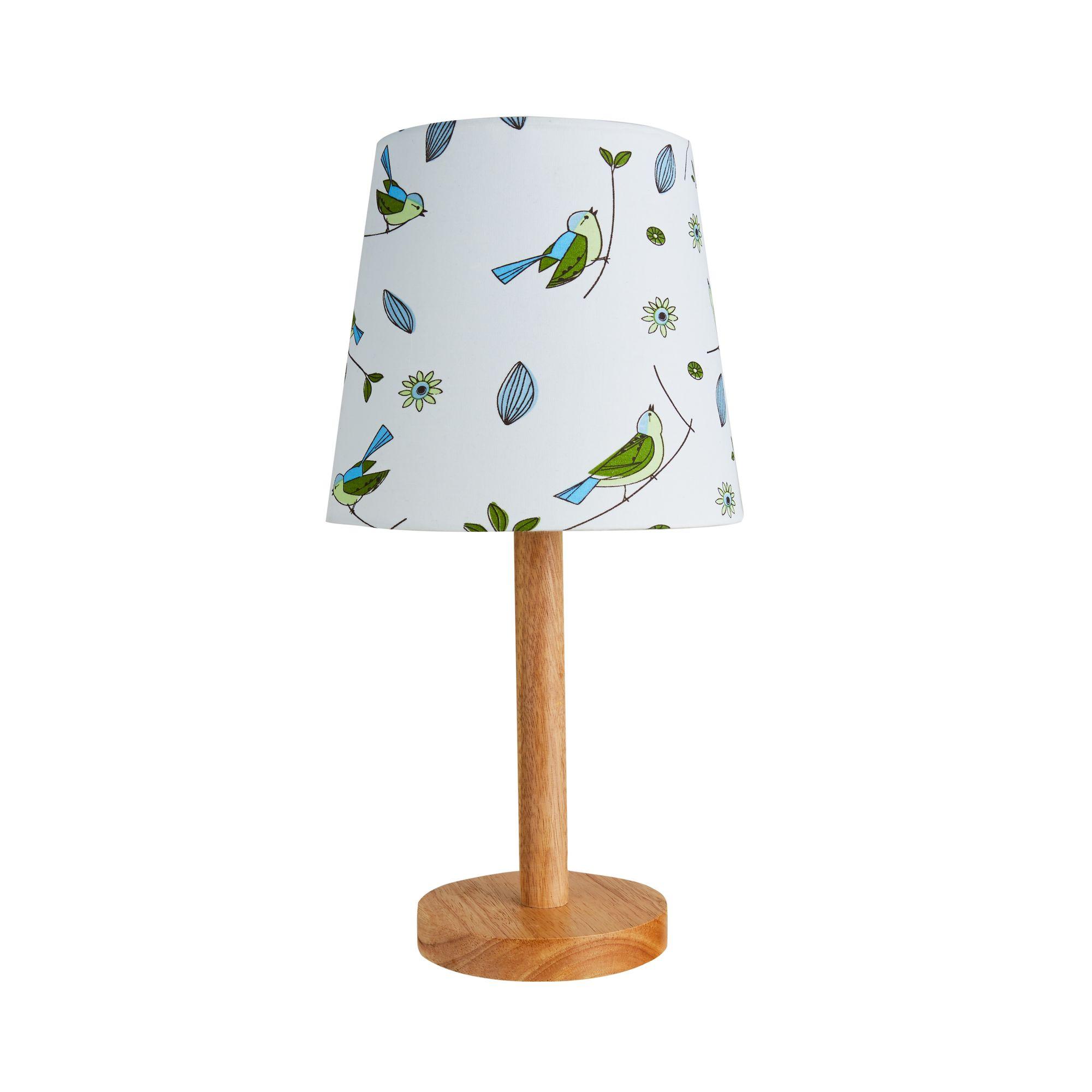 Hellgrau Weiß Und Holz Sind Erfrischend Natürlich: Cute Bird Lamp Max.20W E27 Weiß/Holz/Stoffschirm