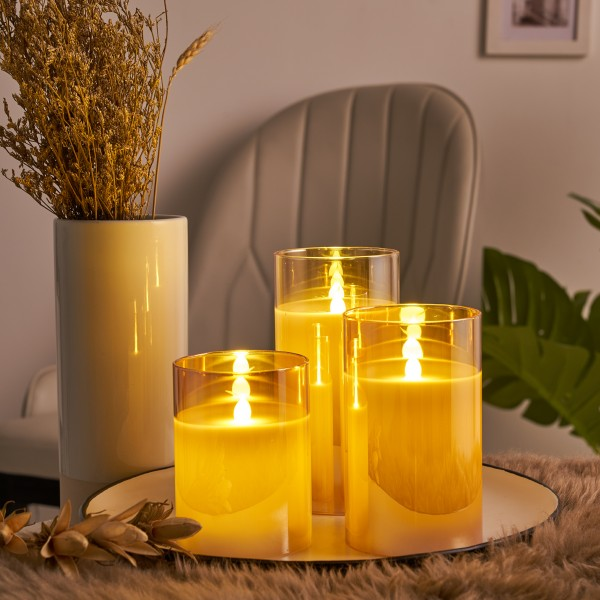 Classy Golden Candle Wachskerze 3er Set Timer Batterie Gold