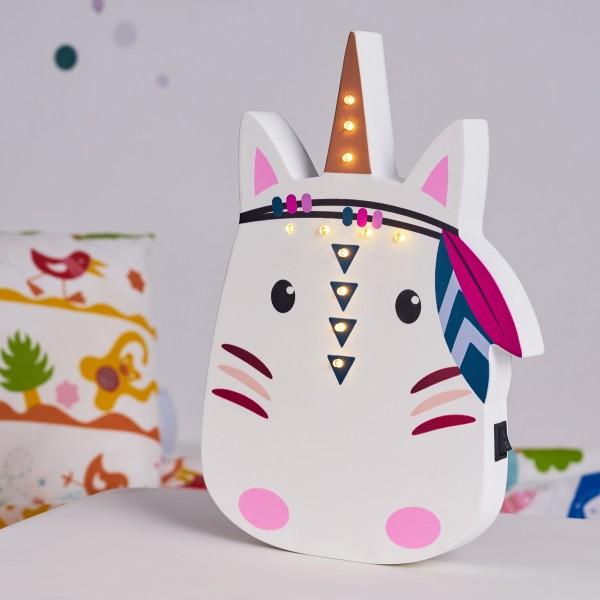 Lovely Unicorn Lamp Wandleuchte Batterie Weiß/Holz