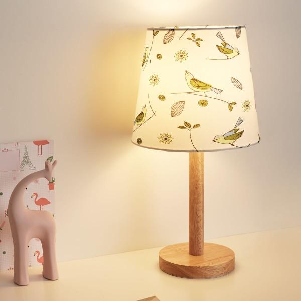Cute Bird Lamp max.20W E27 Weiß/Holz/Stoffschirm