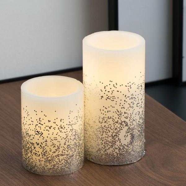 Glowing Glitter Candle Wachskerze 2er Set Batterie Weiß/Glitzer silber Wachs