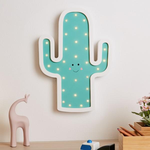 Lovely Cactus Lamp Wandleuchte Batterie Weiß/Grün/ Holz