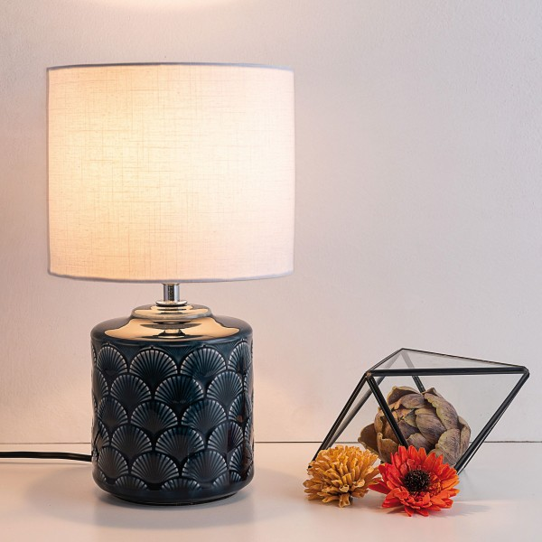 Glowing Midnight Tischleuchte max.20W E14 Weiß/Blau 230V Stoff/Keramik