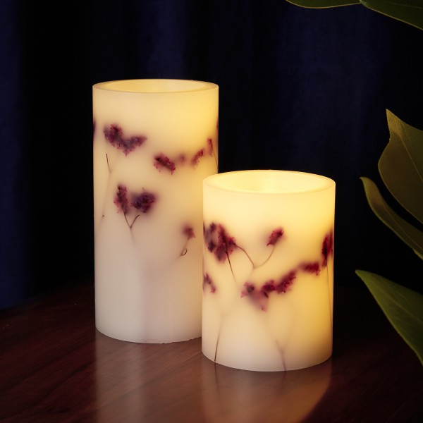 Shiny Bloom Candle Wachskerze 2er Set Timer Batterie weiß/Blumen