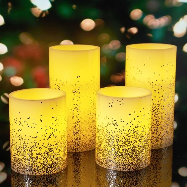 Golden Glitter Candle Wachskerze 4er Set Timer Batterie Elfenbein/Glitzer Gold