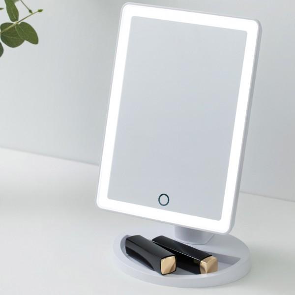 Shining Soul Mirror Schminkspiegel dimmbar Batterie/USB weiß matt Kunststoff