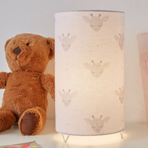 Cute Giraffe Lamp Tischleuchte max 20W E14 Weiß/Grau/Metall/Stoffschirm