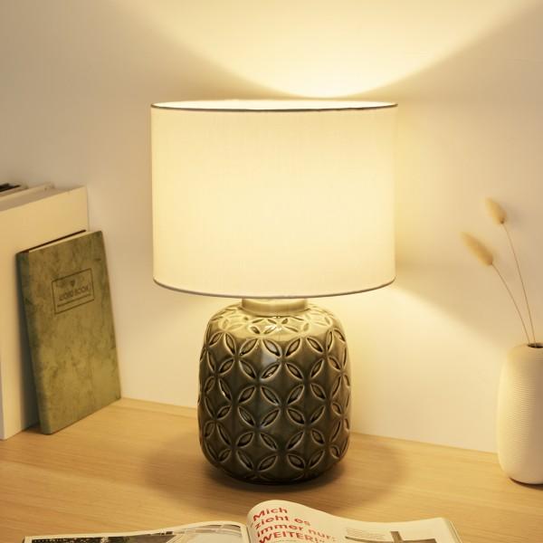 Glowing Bloom Tischleuchte max40W E14 Grau/Weiß 230V Keramik