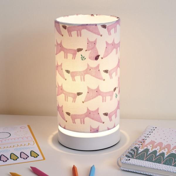 Cute Fox Lamp Tischleuchte max.20W E27 Weiß/Pink/Metall/Stoffschirm