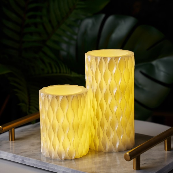 Cosy Pearl Candle Wachskerze 2er Set Timer Batterie Weiß