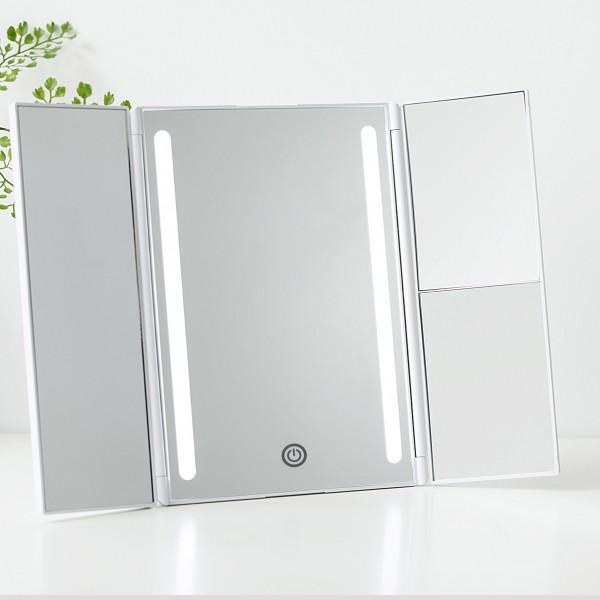 Chic Glamour Mirror Schminkspiegel dimmbar Batterie/USB weiß matt Kunststoff